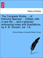 The Complete Works ... of Edmund Spenser ... Edited, with a new life ... and a glossary embracing notes and illustrations, by A. B. Grosart. vol. 1-9. - Spenser, Edmund Grosart, Alexander Balloch