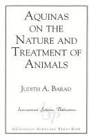 Aquinas on the Nature and Treatment of Animals (Catholic Scholars Press)